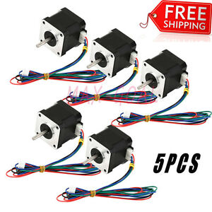 Us 5pcs Nema 17 Stepper Motor Bipolar 84oz in 59ncm Cnc 3d Printer Reprap Rofh