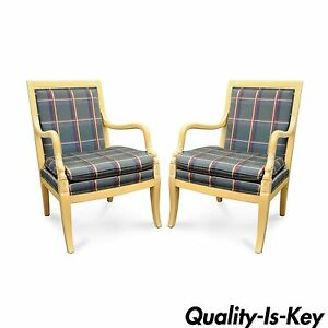 Pair Of Ethan Allen Italian Regency Carved Dolphin Fireside Lounge Arm Chairs