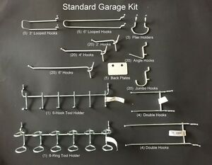 128 Piece Standard Garage Peg Kit Display Tool Holders Fits 1 8