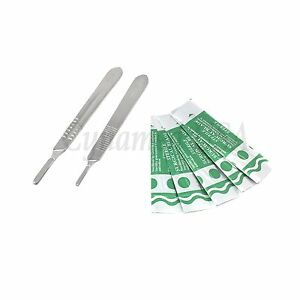 2 Assorted Scalpel Knife Handles 3 4 50 Surgical Carbon Steel Blades 11 22