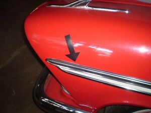 1957 58 Plymouth Belvedere Fury Hdtp Stainless Trim Upper Driver Front Fender