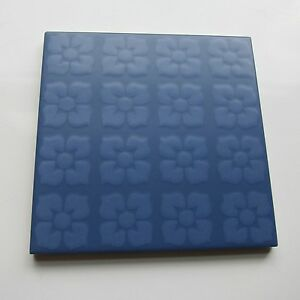 Vintage 1960s 6 X 6 Blue Floral Floor Tile 118 Sq Ft Available Made In Italy
