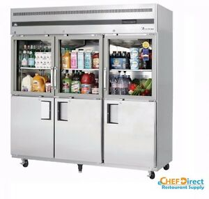 Everest Egsh6 Three Section Glass solid Half Door Upright Reach in Refrigerator