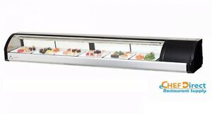 Everest Esc83r 82 5 8 Right Compressor Curved Glass Refrigerated Sushi Case
