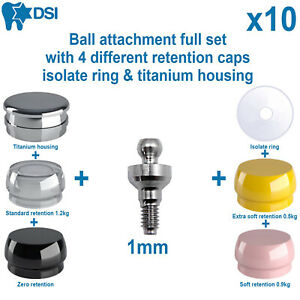 10 Dental Implant Ball Attachment Kit 4 Silicone Caps Isolate Ring