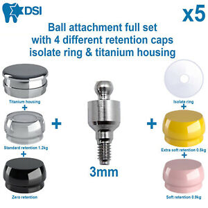 5x Dental Implant Ball Attachment Kit 4 Silicone Caps Isolate Ring