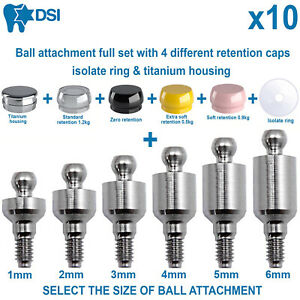 10x Dental Implant Ball Attachment Kit 4 Silicone Caps Isolate Ring