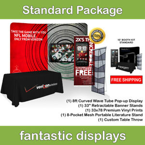 Complete Trade Show Booth 8 Backdrop Banner Stand Table Throw