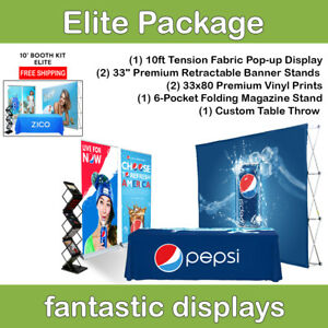 Complete Trade Show Booth 10 Pop Up 2 Banner Stands Table Throw Etc