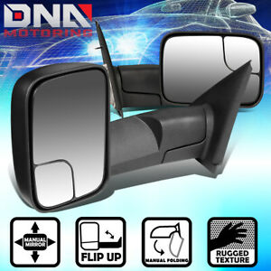 For 2002 2009 Dodge Ram Truck 1500 2500 3500 Pair Manual Side Tow Towing Mirror