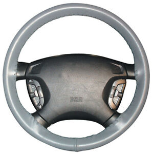 Genuine Leather Gray Wheelskins Steering Wheel Cover For A Nissan size Axx