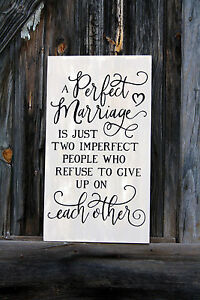 Large Primitive Handmade Wooden Sign A Perfect Marriage Wedding Rustic Country