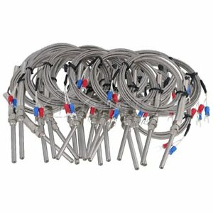 20pcs 5x50mm 2 Meters Thermocouple K Type Cable Probe Sensor Silver
