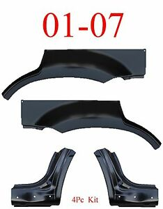 01 07 Escape 4pc Dog Leg Arch Panel Set Upper Ford Mercury Mariner No Holes