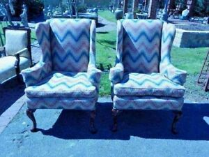 Vintage Matched Pair Of Wingback Chairs Mahogany Carved Legs Newly Upholstered