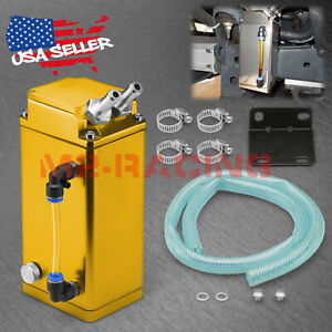 Yellow Billet Square Aluminum Engine Oil Catch Tank Can Reservoir Breather 2