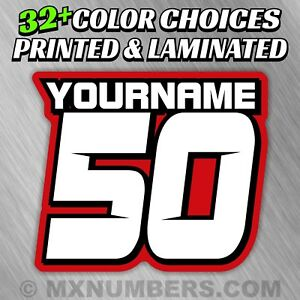 3 Custom Racing Number Name Plate Decals 4 Colors Sx Mx Atv Go Kart Dirt Bike