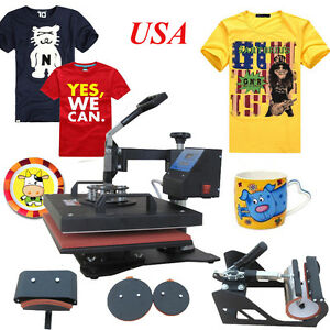 5 In1 Heat Press Machine Digital Transfer Sublimation T shirt Mug Hat Plate Cap
