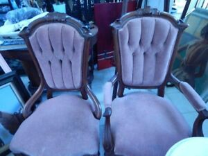 Vintage Matched Pair Of Victorian Chairs Mahogany Rose Velvet Male And Female