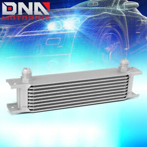 9 Row 10an Aluminum Performance Engine Transmission Racing Oil Cooler Kit Silver