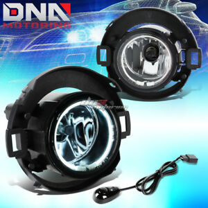 For 08 15 Frontier xterra Chrome Clear Pair Oe Halo Ring Fog Light Lamp switch