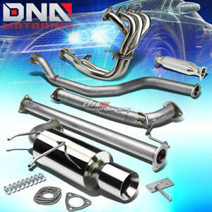 4 Rolled Tip Racing Catback Header Exhaust System Pipe For 92 93 Integra Da Db