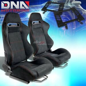 For 79 98 Ford Mustang Bracket Type R Black Suede Racing Seat Reclinable X2
