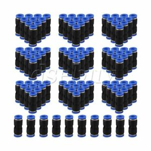 100pcs 8mm Black Air Pneumatic Straight Push In Jointer Quick Fittings