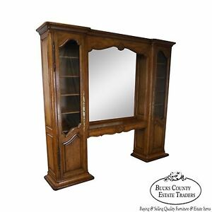 Auffray Co Large French Country Walnut Trumeau Mirror Centered Bookcase Unit