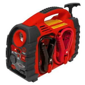 Jump Starter Cable Portable Power Station Auto Tire Inflator With Gauge Roadside