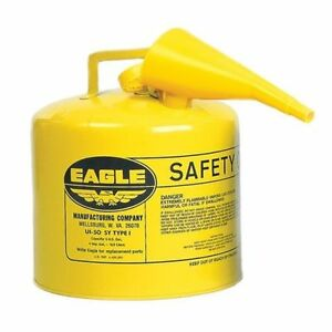 Eagle Mfg Ui 50 fsy Yellow Type 1 Safety Diesel Fuel Can 5 Gallon W f 15 Funnel