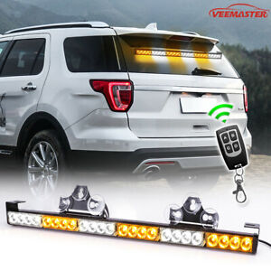32 Hazard Emergency Warning Traffic Advisor Flash Strobe Light Bar White Blue
