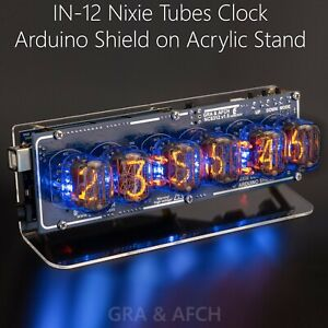 Nixie Tube Clock In 12 Arduino Shield Ncs312 On Acrylic Stand without Arduino