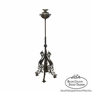 Bradley Hubbard Antique Wrought Iron Piano Floor Oil Lamp W Griffins