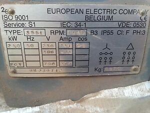 European Electric Company Belgium 250kw Electric Motor