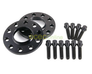 15mm Hubcentric Black 5x120 Wheel Spacers 72 6 12x1 5 Cone Seat Black Lug Bolts