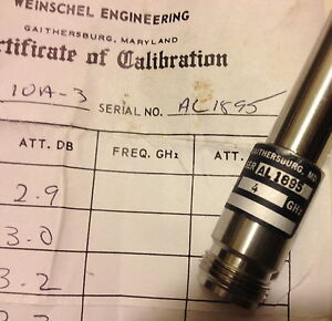 Weinschel Eng Dc 18ghz 3db Fixed In line Attenuator N m f certif calibration