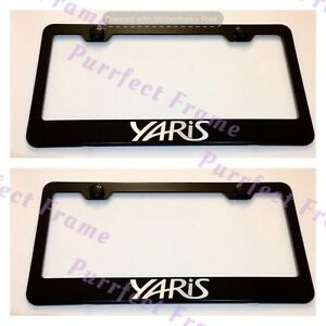 2x Toyota Yaris Black Stainless Steel License Plate Frame Rust Free W Bolt Cap