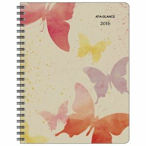 At a glance Weekly Monthly Planner 2016 Watercolors Recycled 8 1 2 X 11