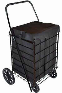 Wellmax Wm99008 Shopping Cart With Shopping Cart Liner Black