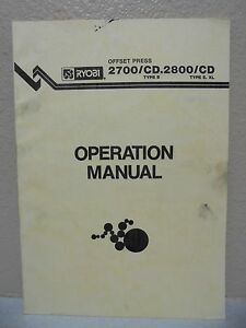 Ryobi Offset Press 2700 cd 2800 cd Operation Manual