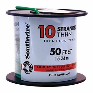Southwire 22977336 Simpull Thhn Or Thwn2 10 Gauge Thhn Stranded Wire 50 Per R