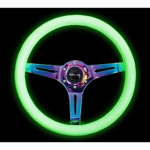 Nrg St 015mc Gl Steering Wheel Smooth Classic White Wood Grain Glow Grip 350mm