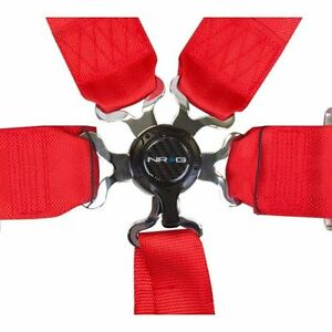 Nrg Sbh 6pcrd Cam Lock Seat Belt Harness 6 Point Red