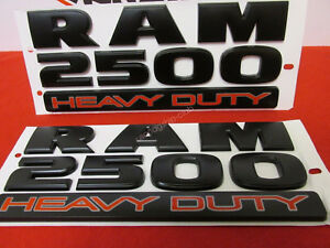 2x Oem Matte Black Dodge Ram 2500 Heavy Duty Emblem Badges 3d Decal Mopar F1u