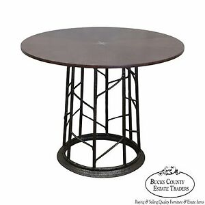 Jonathan Charles Modern Round Star Inlaid Center Table W Iron Base