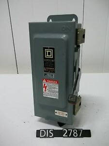 Square D 240 Volt 30 Amp Fused Disconnect Safety Switch dis2787