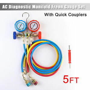 R12 R22 R134a R502 Manifold Gauge Set 5ft Hose A c Adapter Refrigeration Hvac