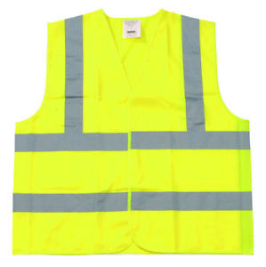 Yellow Polyester Fabric Safety Vest Small Class Ii Silver Reflective Tape 150pcs
