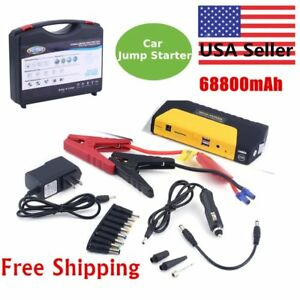Pro 12v 68800mah Portable Battery Jump Starter Air Compressor Car Booster Jumper